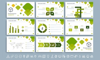 Ecological Presentation Template with infographics.