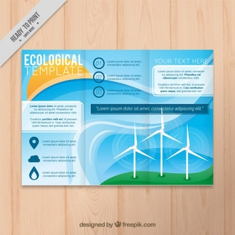 Ecological trifold template with wind energy