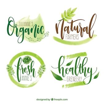 Экологические логотипы акварельные