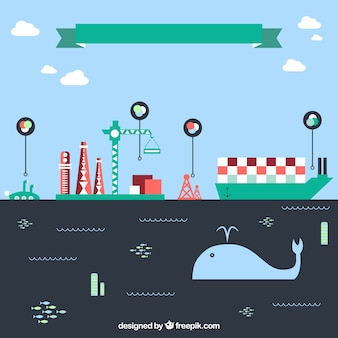 Ecology and industrial infographic