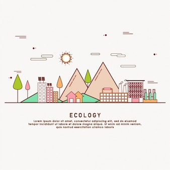 Ecology background in flat design