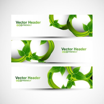 Ecology headers with leaves