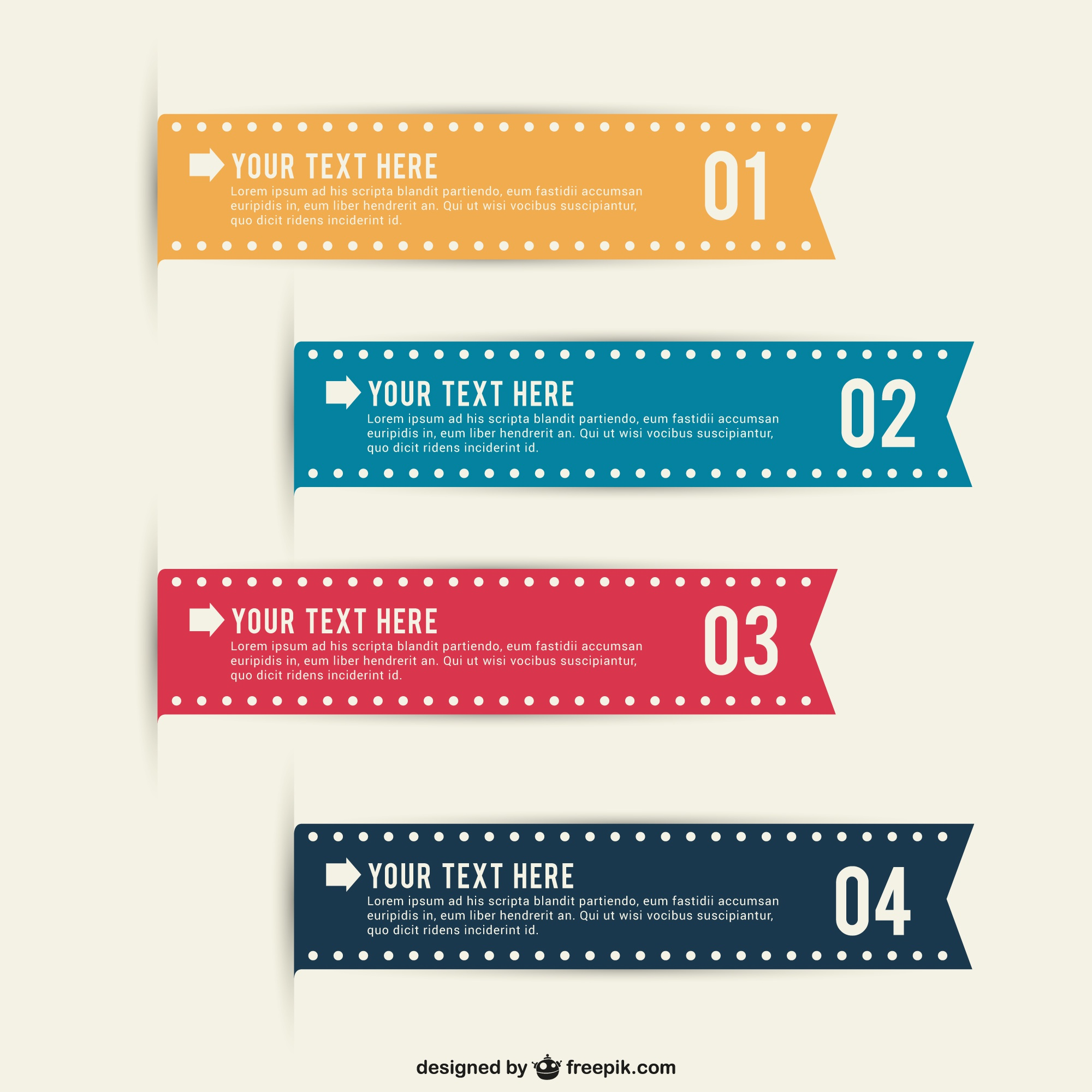 Editable infographic ribbons