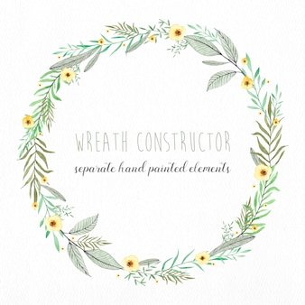 Editable wreath made with separate watercolor elements