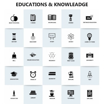 Education and knowledge, icons