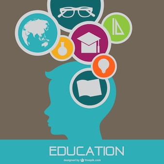 Education background with boy silhouette and school elements