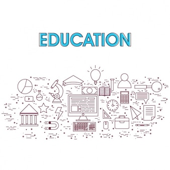 Education background with flat elements