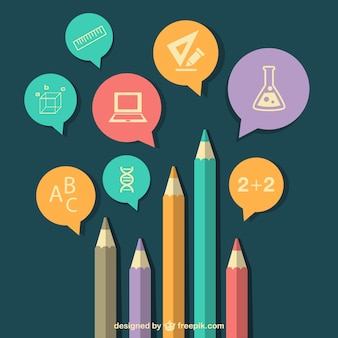 Education background with pencils and subjects icons