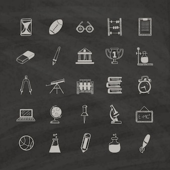 Education icons on a black background