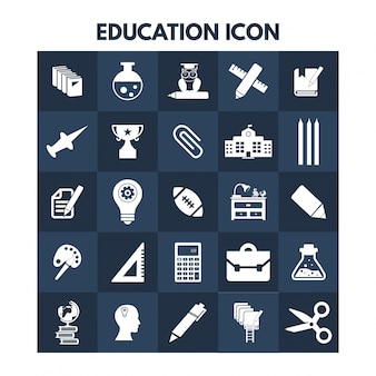 Education icons on blue boxes