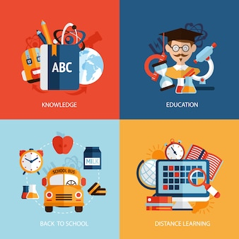 Education knowledge school distance learning icons set isolated vector illustration
