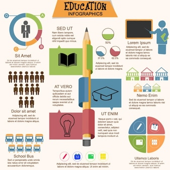 Educational infographic with charts in flat design