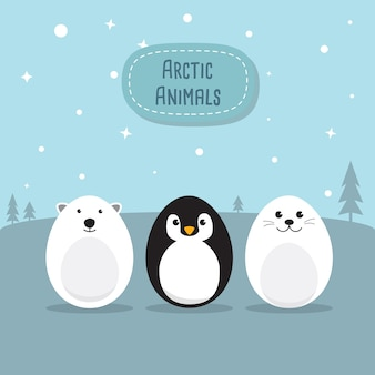Egg Shaped animals Character Set for Easter day, Easter eggs paint. A Cute Polar Bear, Penguin, Baby Seal Pup, Chicken, Rabbit character on sky blue background Flat design vector illustration.