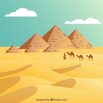Egyptian desert with the pyramids