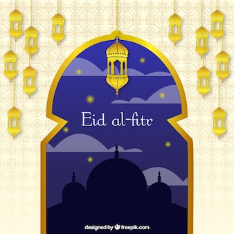 Ид аль-фитр фоне золотые окна и фонари