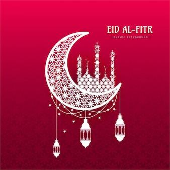 Eid al fitr background with ornamental moon