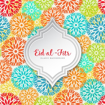 Eid al fitr design with colorful flowers