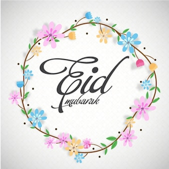 Eid mubarak background with beautiful floral wreath