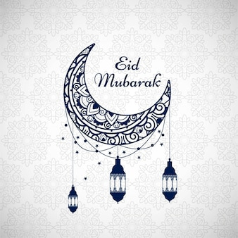 Eid mubarak background with blue moon