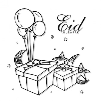 Eid mubarak background with gifts and balloons