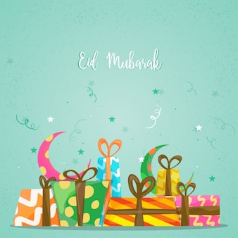 Eid Mubarak background with gifts