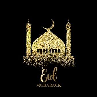 Eid mubarak background with gold glitter effect