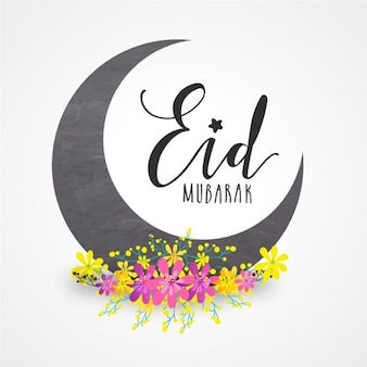 Eid mubarak background with yellow and pink flowers