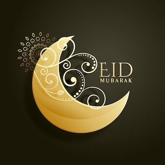 Eid mubarak design with moon and ornaments
