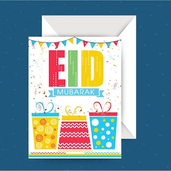 Eid mubarak greeting card with colored presents