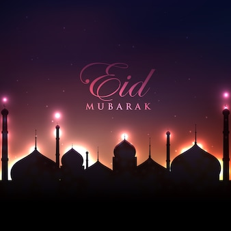 Eid mubarak vector night design