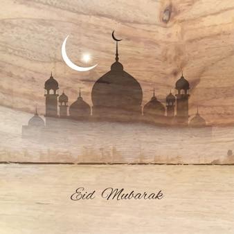 Eid mubarak wooden background