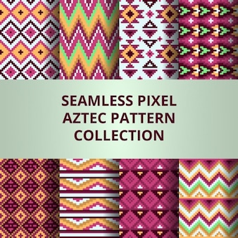 Eight aztec patterns with pixels