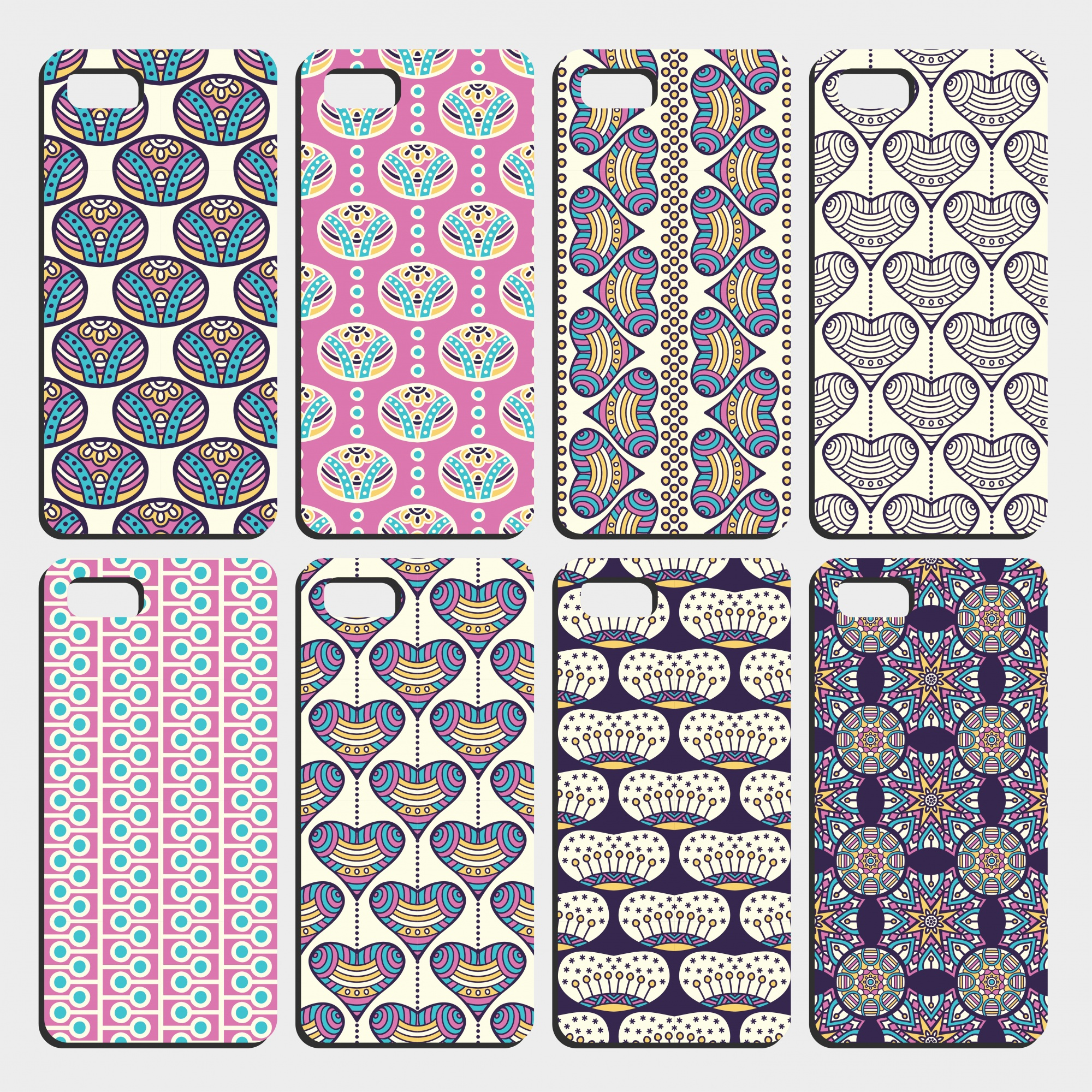 Eight different smartphone cover templates