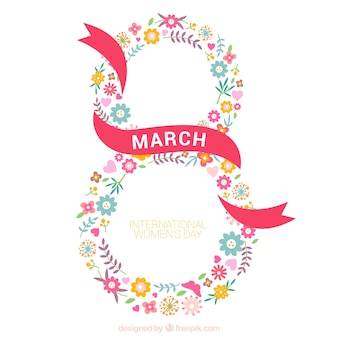 Eight made up of flowers woman day background