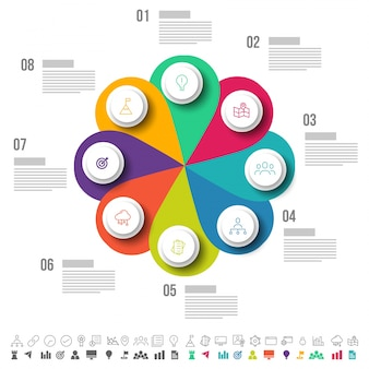Eight steps, Timeline Infographics layout with icons set, in black and white and colorful versions.