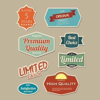 Eight vintage labels