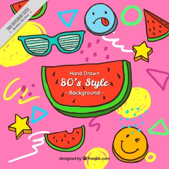 Eighties background of geometric shapes and watermelon
