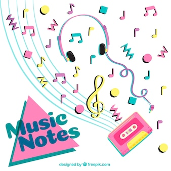 Eighties background with musical notes