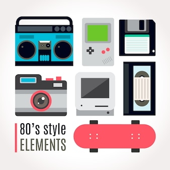 Eighties technological accessory collection with skateboard