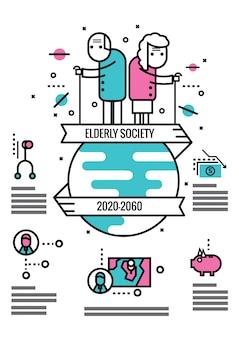 Пожилые общества информация графика и icons.flat тонкой линии элементов дизайна. векторные иллюстрации