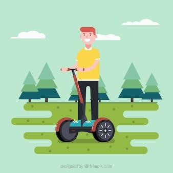 幸せな人と電気自転車の概念