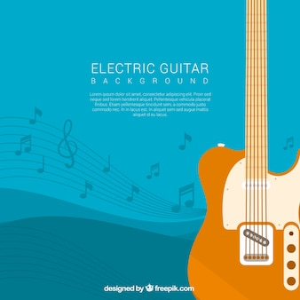 Electric guitar background with musical notes