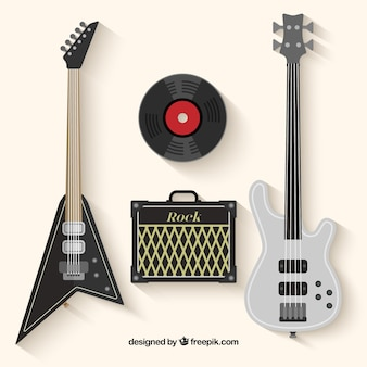 Electric Guitar Bass Guitar Amplifier and Vinyl Record