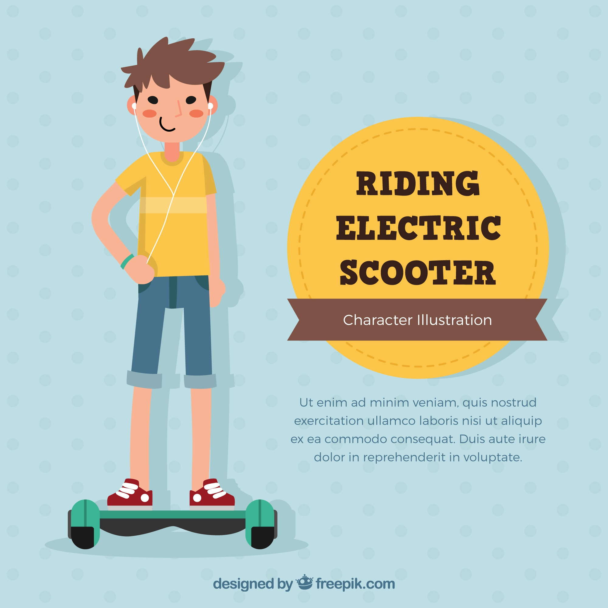 Electric scooter concept smiling boy