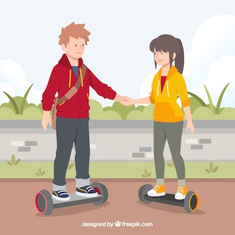 Electric scooter concept with couple holding hands