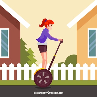 Electric scooter concept with girl between houses