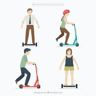 Electric scooter design with four persons