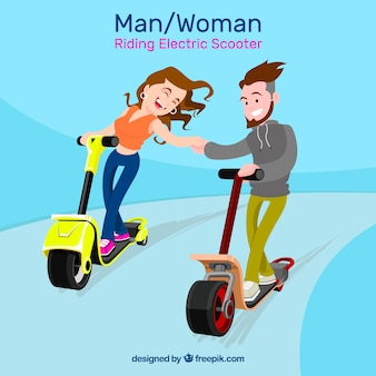 Electric scooter design with happy couple