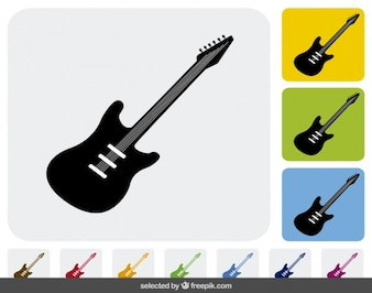 Electrical guitar icons collection