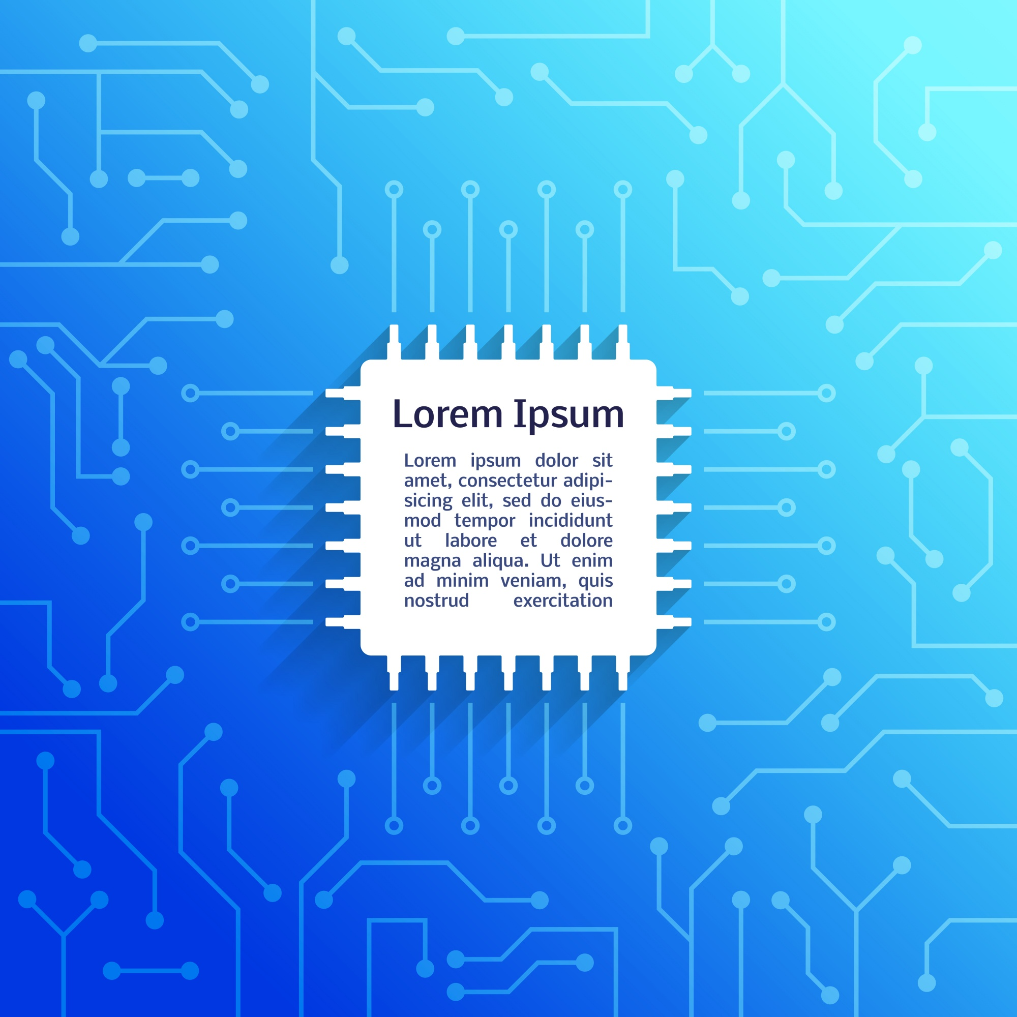 Electronic device circuit board bright blue background poster vector illustration